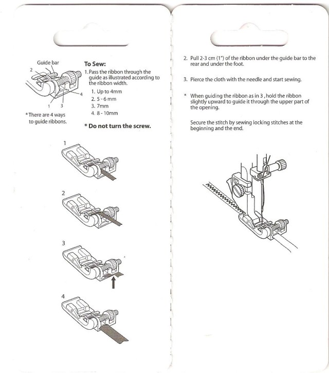 RIBBON SEQUIN FOOT INSTRUCTIONS ON THE BLISTER PACKAGING