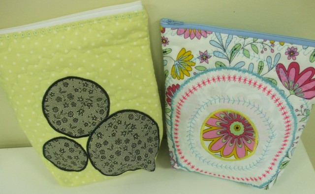 Bags embellished using the JANOME CIRCULAR ATTACHMENT