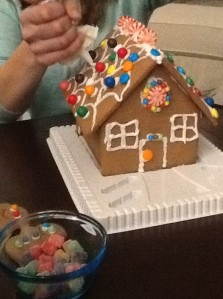 Decorating a Gingerbread House at my daughter's house......my little 3 year old grand- daughter was just loving it and (amazingly) lots of candies made it onto the house & not into her tummy!