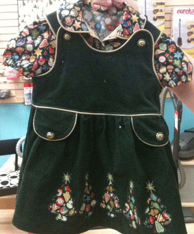 Bridget also made this little pinafore dress with blouse  for the Christmas challenge -she used  the challenge fabric for the blouse and aapliques on the skirt of the dress.  Very clever!