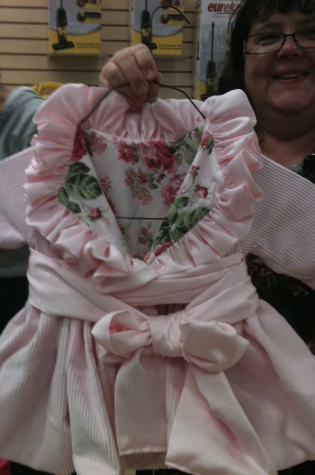 This is the most charming little reversible coat that Bridget made. This got lots of ooh's & aah's!