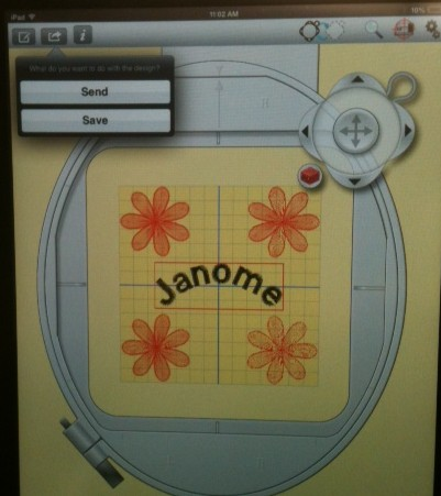 here is my edited design selection  ready to send to the JANOME MC 15000. Touch the SEND  icon as indicated in this pic.