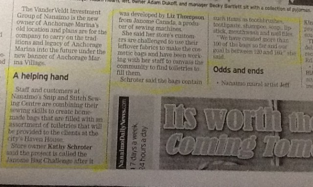 copy of the newspaper article in THE NANAIMO DAILY NEWS........Thank you to them for reporting about the wonderful charitable sewing that SNIP & STICTH, Nanaimo achieved.