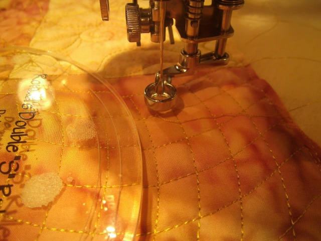 "Note the curved ruler & our JANOME ""ruler"" foot. Acknowledgements to Amy's Free Motion Quilting Adventure for the pic."