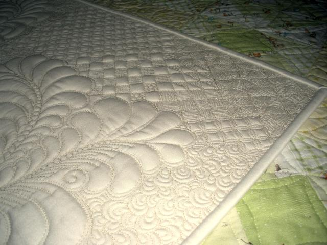 Notice the grid quilting in this exquisite sample by Amy of Langley. BC. Rulers make this possible!