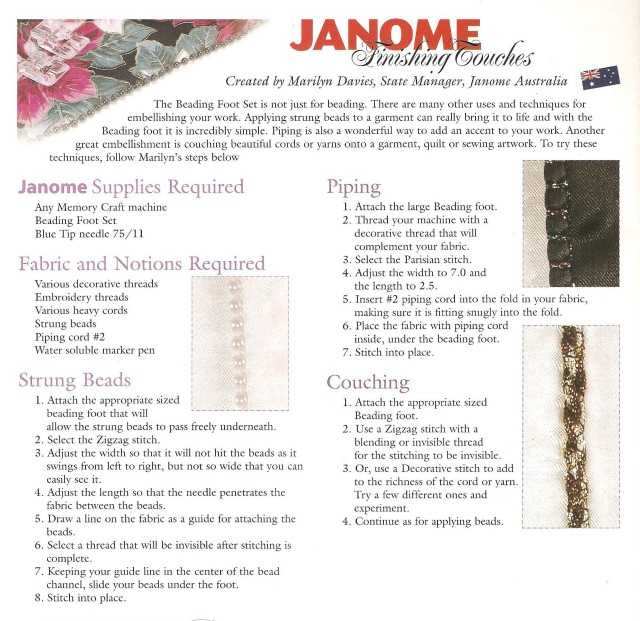JANOME Digest page where it is explained again that the Beading foot is not just for beads! Use also for piping and Couching.