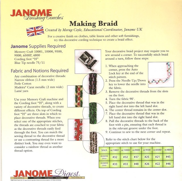 And another JANOME Digest mag showing how to make braid by couching down multiple rows of cords