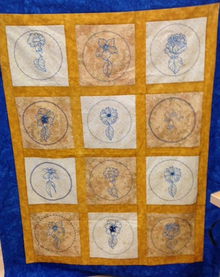 The whole quilt top that Lois shared with us at a recent Langley Vacuum & Sewing Janome evening: see above for acknowledgements.   I just love the mustard yellow & blue together - very pleasing!