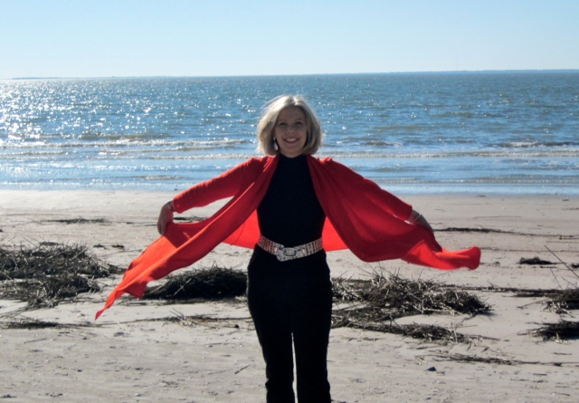 "Sarah of the ""Goodbye Valentino"" blog modeling on the beach - pic from her blog."