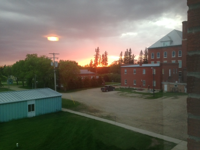 The tranquil and lovely setting of St Peter's College, Muenster, SK which is where the SASKATCHEWAN STITCHES CONFERENCE is held each year. I would not miss it for anything! This was a particularly lovely sunset the one evening.