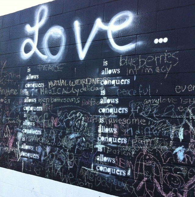 The LOVE chalk wall, Grand Island, BC