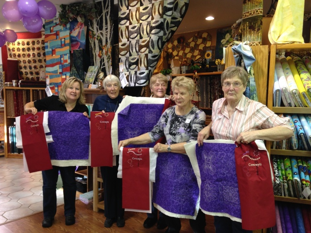 Some of our Janome customers at Snip and Stitch, Nanaimo showing off their projects made at our Master class #2 (October 2014)