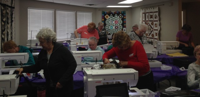 Janome customers getting themselves all organized for a Master Class at Triangle Sewing Center in Guelph, Ontario. Thanks to Nic, Nancy & Krista for hosting this successful event.