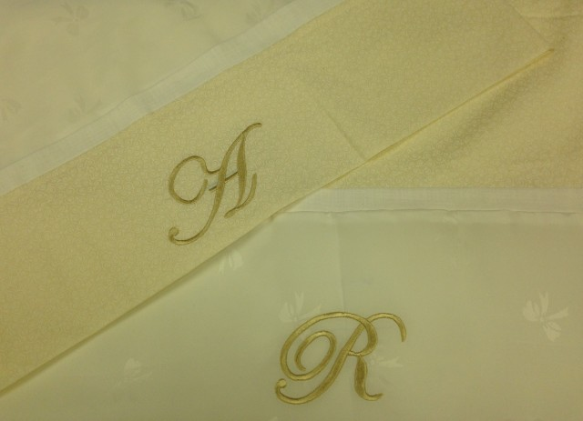 """It needs to be flat & easy to fit into a suitcase for their journey home......so I decided the son & daughter-in-law would get """"burrito"""" pillow cases with their initials embroidered .....for their new home in London, UK.  Check out You Tube for great vide's of how super easy it is to make these pillow cases"""