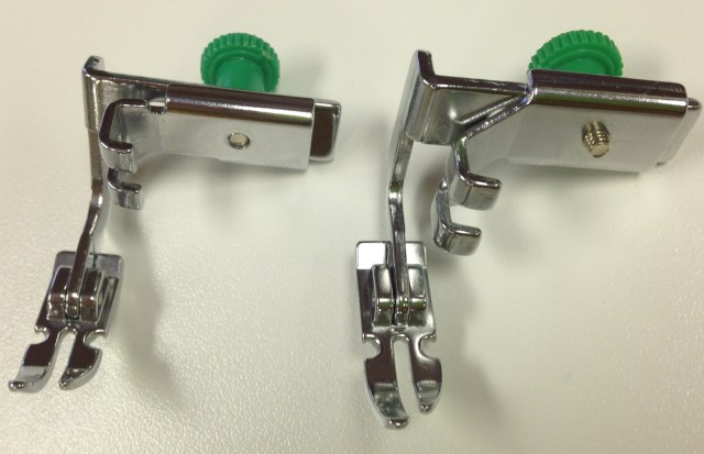 JANOME ADJUSTABLE ZIPPER FEET - the one on the left is for low shank machines, the one on the right is for high shank machines.