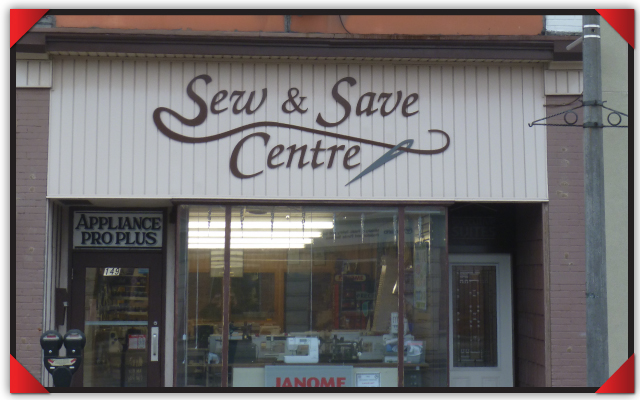 Sew & Save in Stratford, Ontario. We had our Janome events  at a local hotel but this is the store in this charmingly quaint city.