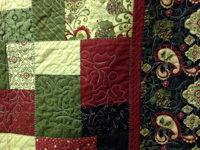 This is a close up of the same quilt showing the ACUFIL quilting that Donna did on the Janome MC15000.