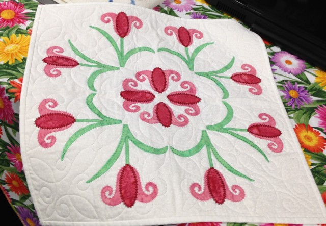 Donna's lovely SPRING project - all applique shapes were cut using the Digital cutter and all stitching was digitized using Artistic software and then stitched in our amazing Janome MC15000. Donna was showing customers just how easy it is to use the SIMPLE CUT software which comes included with the cutter to cut the fabric.....NO MORE fiddly cutting with scissors! We love this.