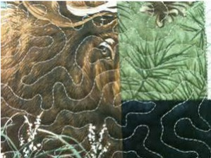 Notice the close up of Acufil stippling (see quilt at top of this post). We can practice our stippling for a long time but this is so even and perfect......digitized designs and the embroidery unit do the work!!