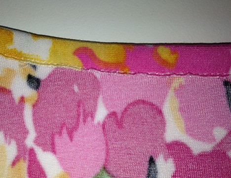 wrong side showing raw edge which won't unravel and the stitching which was done in the ditch on the right side.