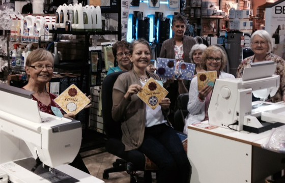 This group of Janome customers show off theirmug rugs at Findlays Vacuum & Sewing in Vernon, BC. See upcoming blog post about this store.