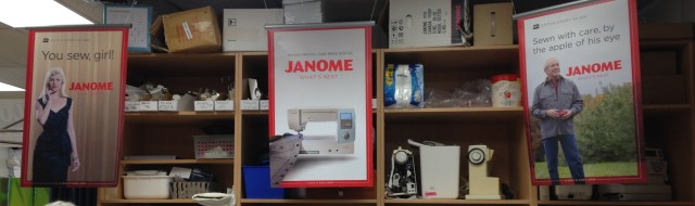 Our dealer, Kathy, had made good use of our latest promotional materials: our Janome Stitch story posters hanging from the ceiling around the classroom.
