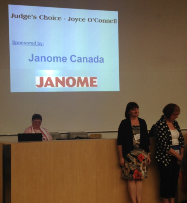"I was honoured to present the Janome & Elna awards at the Awards ceremony.  Here Joyce o""Connel and I were waiting for the announcement of the winner of her Judges choice"