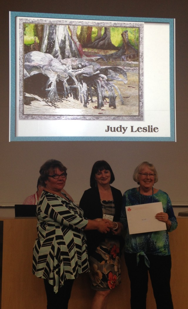Here Best of Show winner, Judy Leslie (not present) was announced.  Janome & Westminster Fabrics reps were 2 of the larger sponsors of this award