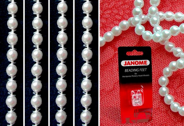 pic courtesy of Sew4Home showing the Jnaome blister pack with foot as well as a close up of the couched bead string