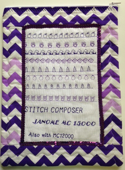 New decorative stitches created using Janome Stitch Composer software. The little stitch out was then outlined with a strip of sequins using our Jnaome Ribbon/sequin foot and then constructed into a little zipper baggie