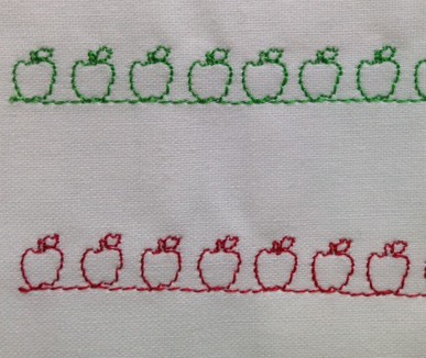 Simple, easy and everyone can see its an apple! Check out our month of everyday blog posts on September 2014 - more details was posted then about how to create this apple stitch.