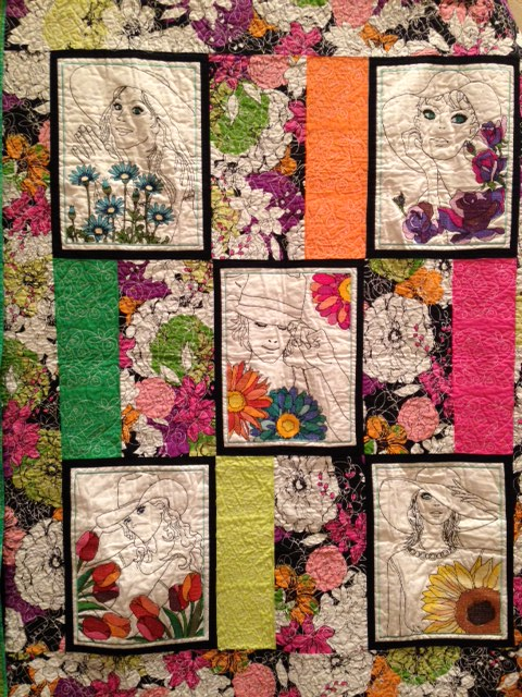 "Remember our lovely ""cross stitch ladies"" on the JANOME MC 15000? I know many of our Mc15000 owners have done beautiful things with these designs.....here is another quilt project using the ladies in all their glory!"