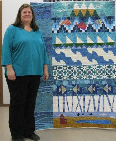 This lady, Sylvia Klotz from Outlook, SK, won the store Row by Row contest for her quilt at Veronica's Sewing Supplies in Kindersley, SK. Veronica is a Janome dealer