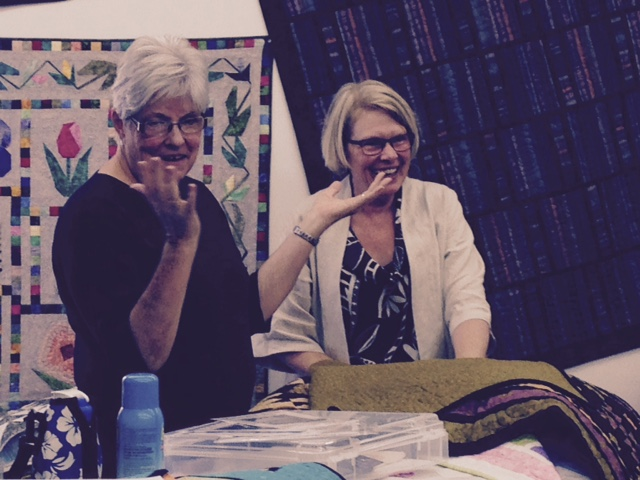 Wendy (right) and Diana Best from Moose jaw sharing a funny point during the annual Open House at Haus of Stitches