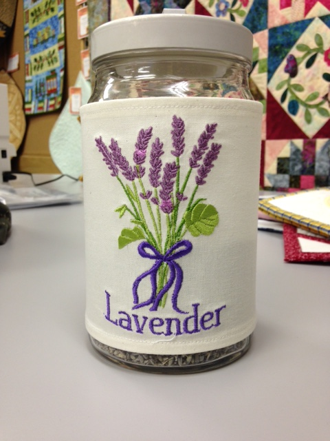 Heather, a new Janome Mc15000 owner at Snip and Stitch SewingCenter made this cute embroidered jar cover