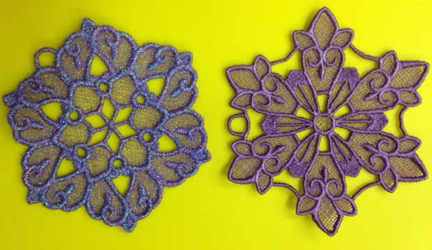 These little embroidered snowflakes were made by Tammy, a brand new Langley Vacuum Sewing customer who recently purchased a Janome MC9900. She is having SEW much fun!