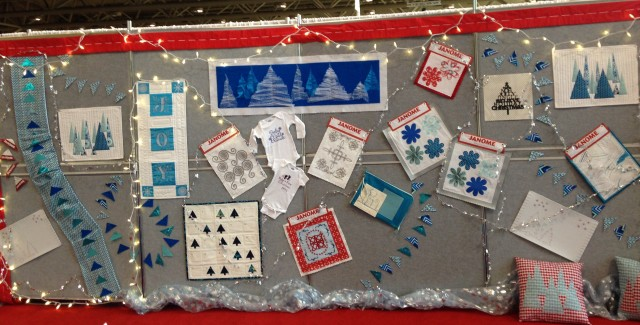 One of the walls in our large Janome booth was decorated with a wide array of Winter Wonderland samples - all were made using our Artistic Edge Digital cutter and/or our Janome sewing and embroidery machines.