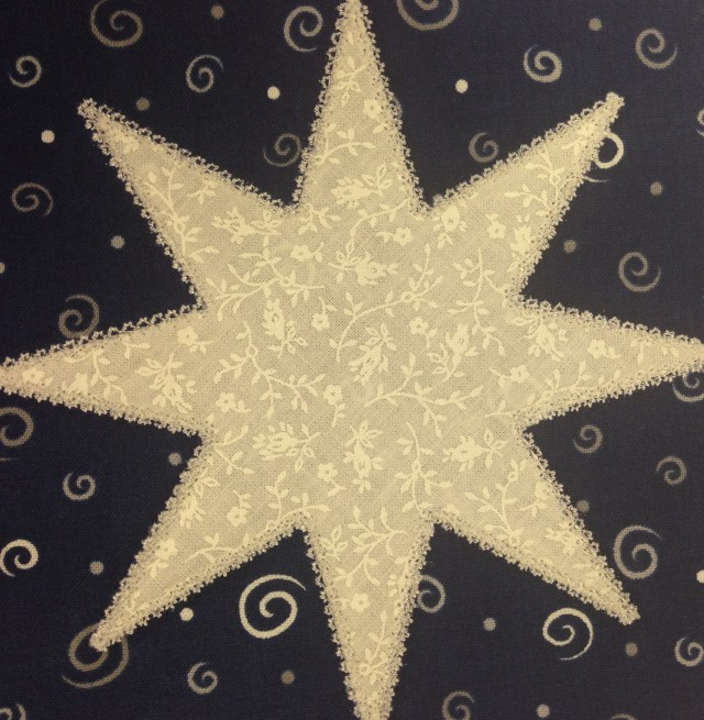 this was actually a teeny, tiny star shaped motif which became my applique stitch.