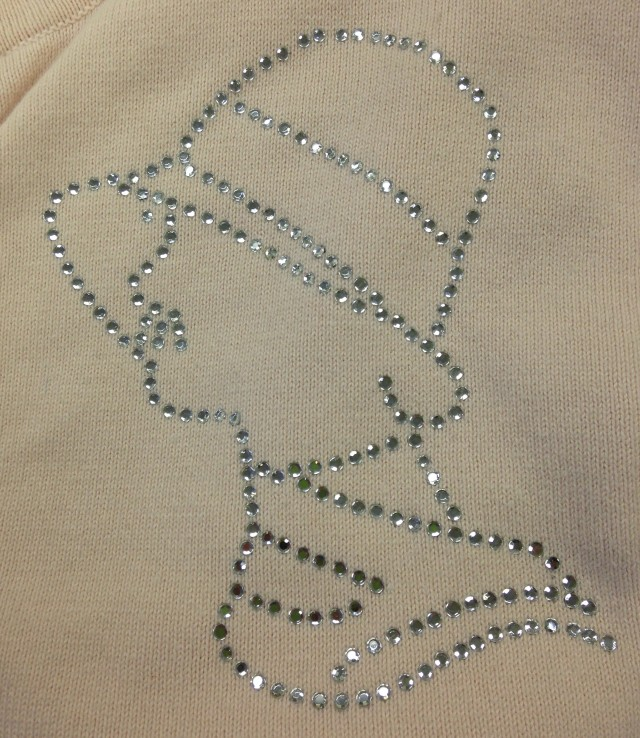 Here is our crystal lady applied to the front of a sweater.