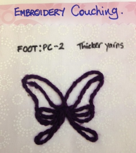 And embroidery couching foot PC-2 is designed for thicker yarns.
