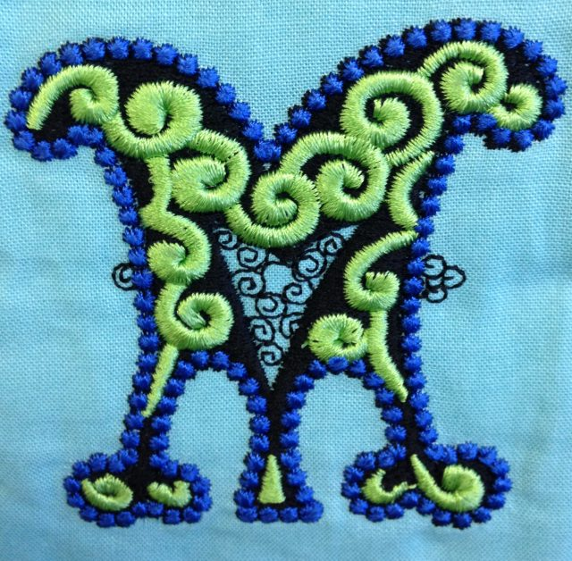 This embroidery required good stabilizing as it was quite densely digitized