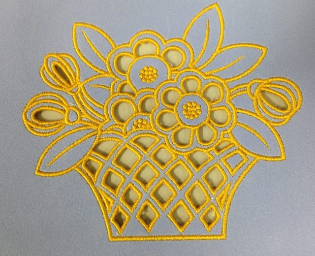 I can see this on a table cloth or soft, sheer drapes.....how about you?  All quite simple with Janome Digitizer MBX and cutwork needles