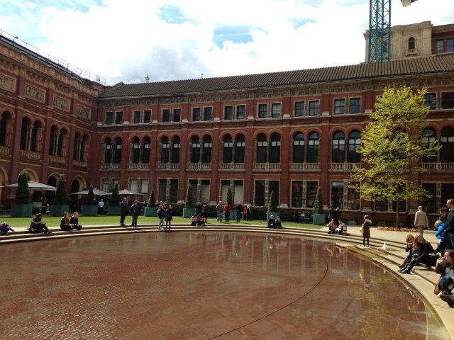 The inner courtyard at the Victoria and Albert Museum where many people were taking advantage of the lovely spring weather
