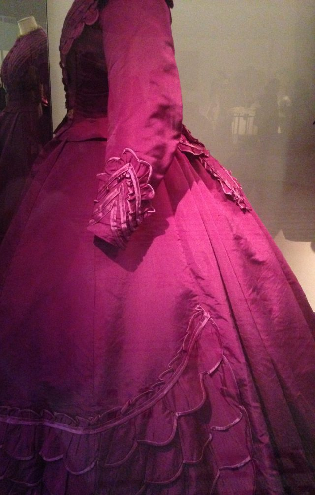 Dresses were such an investment that they were often made with separate bodices for different occasions and evening wear. Extra pieces like the lace peplum could be added for further variation. Crinolines requires such vast amounts of fabric - the hem of this dress is more than 5 metres of fabric!