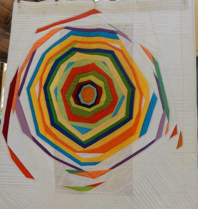 Orange QAYG by Paul Krampitz. Original design, Quilt as you Go Workshop by Marianne Haak.
