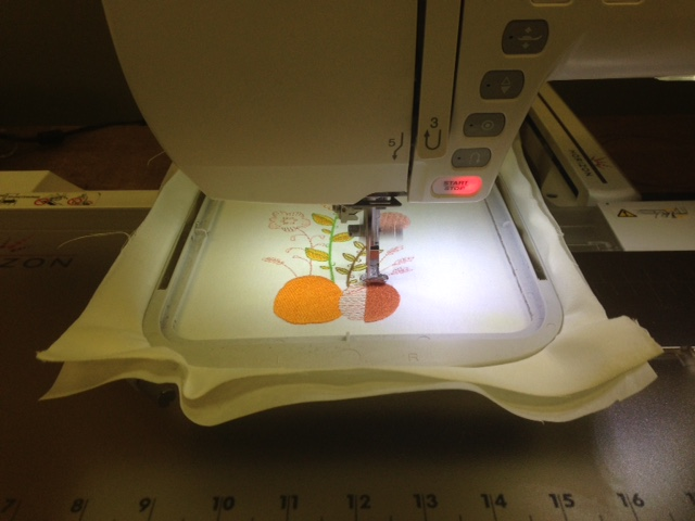 Embroidery for the one side of the bag - one of the built in designs on the Janome MC15000