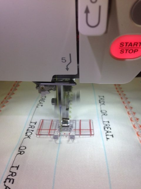 Using the Janome BORDER GUIDE FOOT is also most useful for multiple rows of stitches.