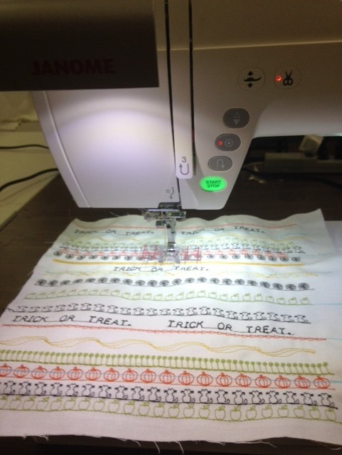 Rows were marked on the fabric and then a selection of brand new STITCH COMPOSER stitches were stitched. Some were combined with other stitches.....created in Stitch Composer or built in machine stitches. Rows with different colours were also sewed.