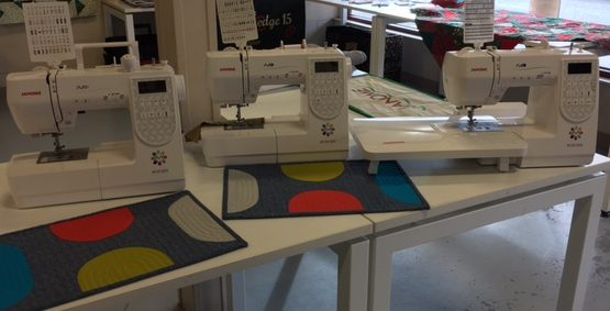 Our lovely display of Maker series machines - our new M50, M100 and M200 machines at Lindas Quilt Shoppe in Kelowna.