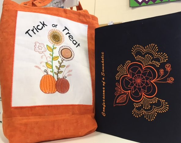 I know Halloween has passed but I did have fun explaining why how I made the candy bag and the Confessions of a Sewaholic book cover - embroidery designs are builtin in desisgns on the Janome MC15000 and Skyline S9.